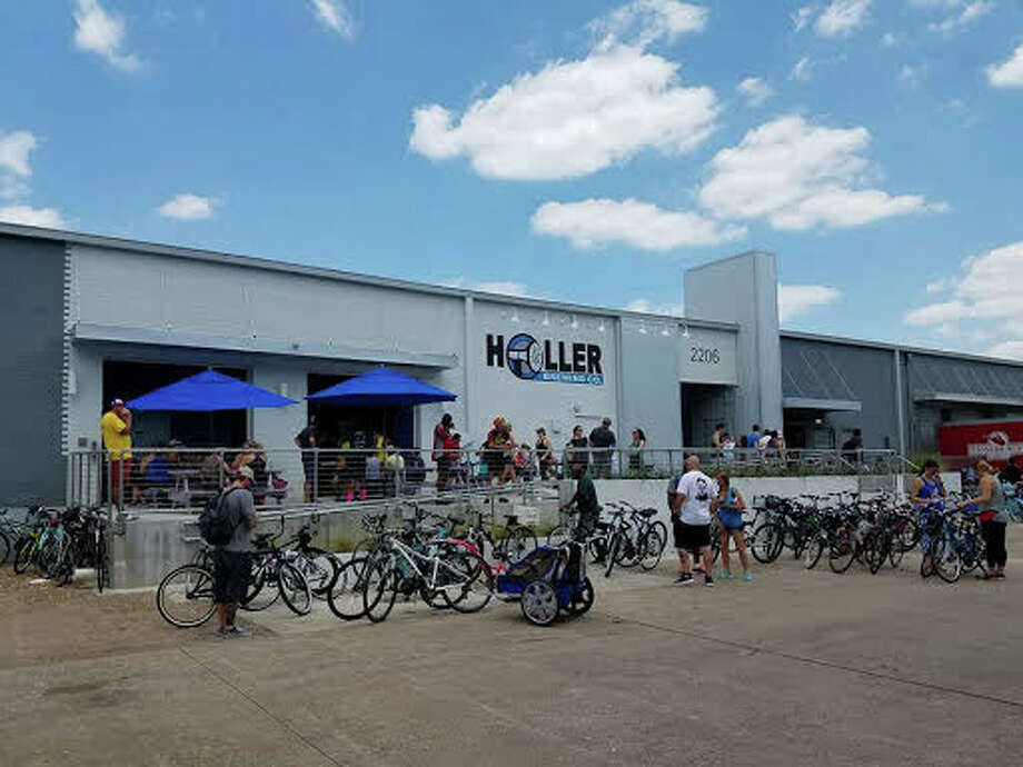 Riders finish the ride at Holler Brewing in May 2017. Photo: John Holler