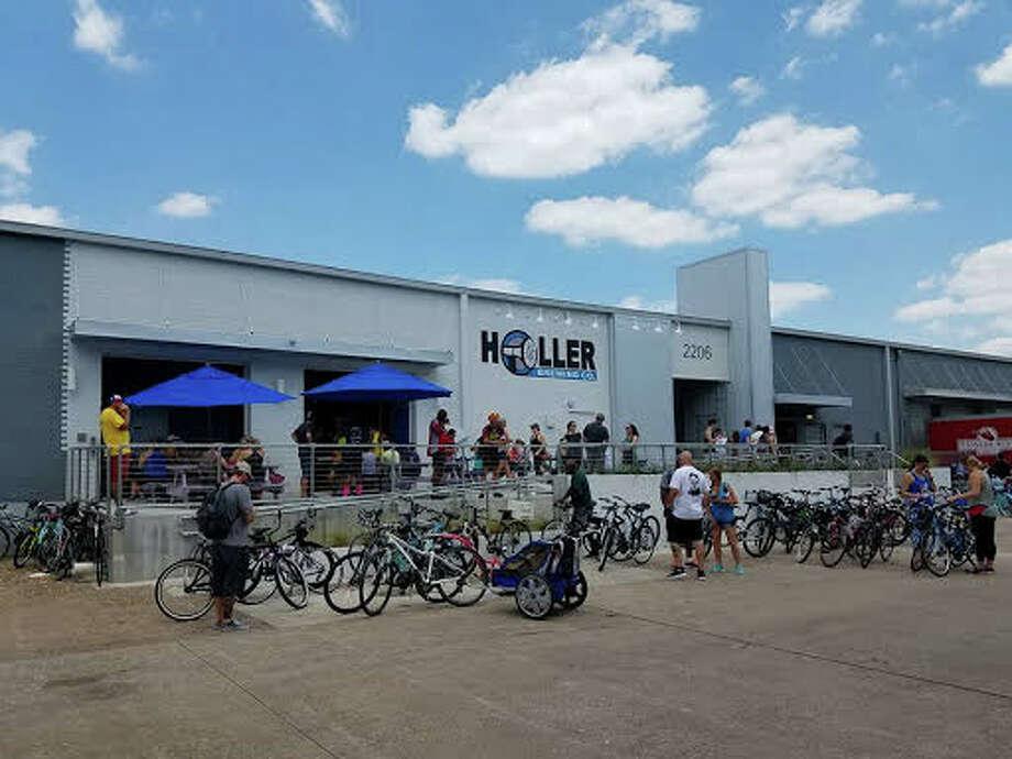 Riders finish the ride at Holler Brewing in May 2017. Photo: John Holler