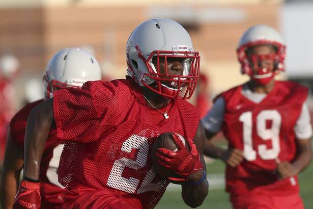 Judson running back Sincere McCormick practices on Aug. 8, 2017 at Rutledge Stadium. Tuesday was the team's first workout on the field since Monday's heavy rain.