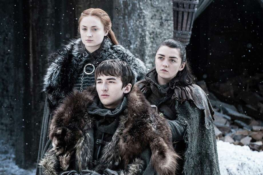 Sophie Turner, Isaac Hempstead Wright and Maisie Williams, Game of Thrones | Photo Credits: Helen Sloan/courtesy of HBO