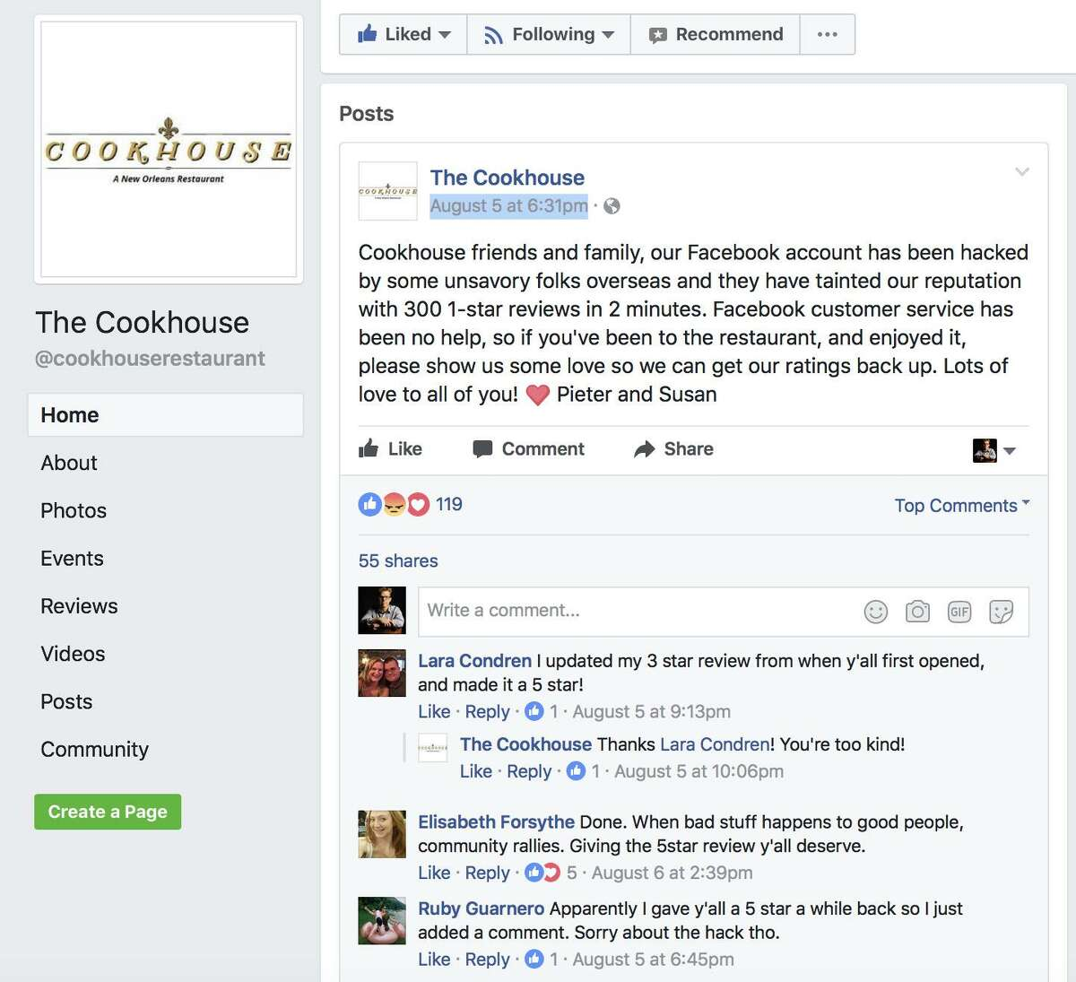 The Cookhouse asked supporters to counter the negative marks with reviews of their own.