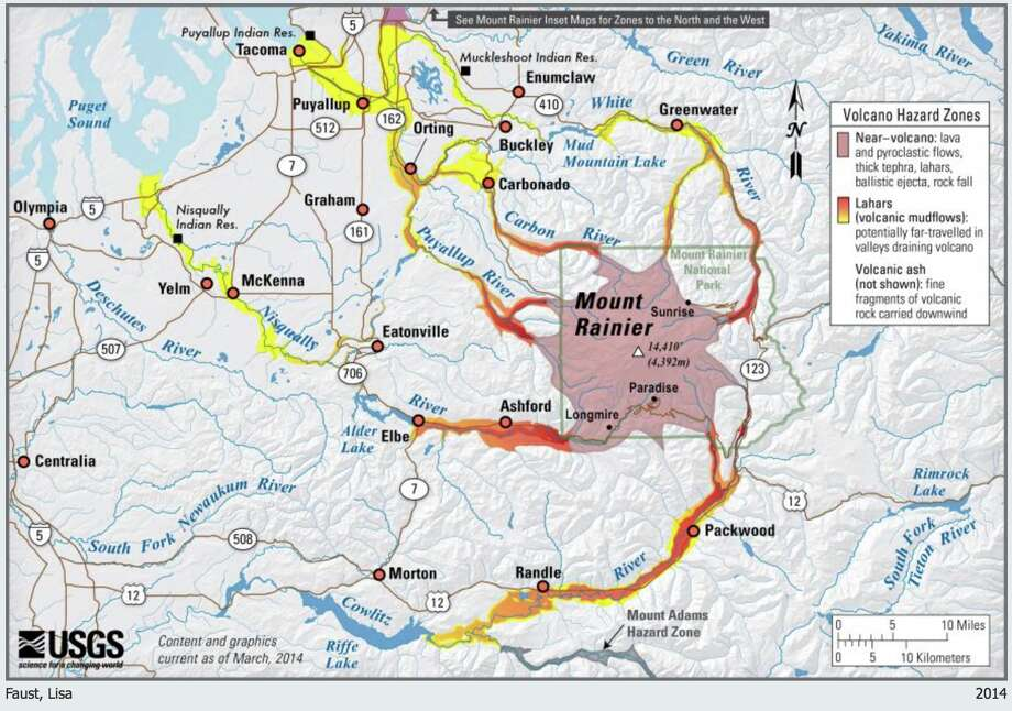 USGS hazard map of Mount Rainier illustrating the potential for ground-based volcanic impacts—lava flows, hot rocks, volcanic gases, and more far-reaching hazards (primarily lahars) in valleys that drain the volcano. Photo: USGS