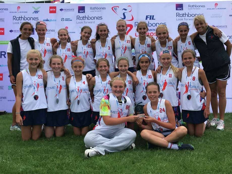 The Comets girls lacrosse team won the 14-under title at the World Youth Lacrosse Festival in Guildford, England recently. The championship team included front row from left to right: Laura O'Connor, Haley Townsend. Middle row, left to right: Kate Haffenreffer, Lacey Hartley, Ellie Perkins, Cameron Butz, Winnie Welch, Karina Sethi, MaryKate Blum and Lily O'Sullivan. Back row, left to right: coach Cayla Liptak, Keira Young, Brecon Welch, Ava Butz, Ellie Burdick, Ellie Johnson, Bridget Brockelman, Rebecca Arpano, Sienna Tejpaul and coach Laurie Downs. Photo: Contributed Photo /Contributed Photo