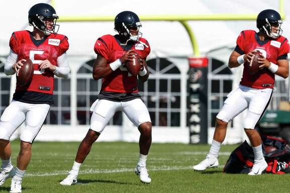 Houston Texans quarterbacks Brandon Weeden (5), Deshaun Watson (4) and Tom Savage (3) run a drop back drill during training camp at the Greenbrier on Wednesday, Aug. 2, 2017, in White Sulphur Springs, W.Va. ( Brett Coomer / Houston Chronicle )
