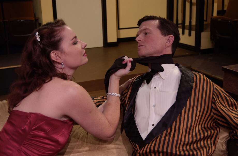 Sara Gaston and Joel Sandel in a scene from Present Laughter.
