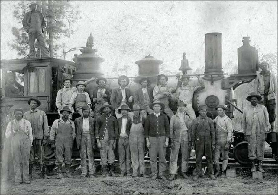 Workers at the Tamina Sawmill. Tamina had a sawmill, which was a part of the Grogan's mills from 1917 to 1927.