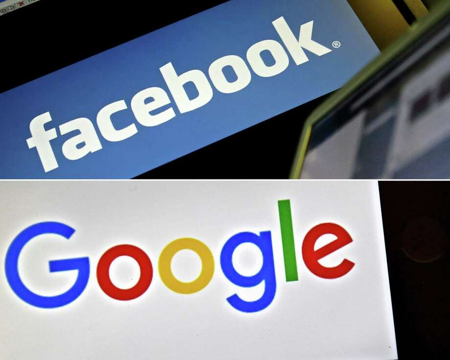 These two digital giants aggregate news from other media venues. Congress could grant an antitrust exemption allowing these venues to negotiate for payment. Some 44 percent of U.S. adults now get news on Facebook. Photo: LEON NEAL /AFP /Getty Images / AFP