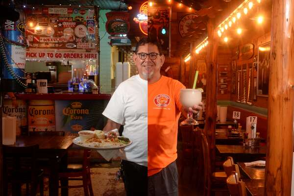 Tia Juanita's owner Ricky Martinez at the Beaumont location, left, and the Lumberton location, right.