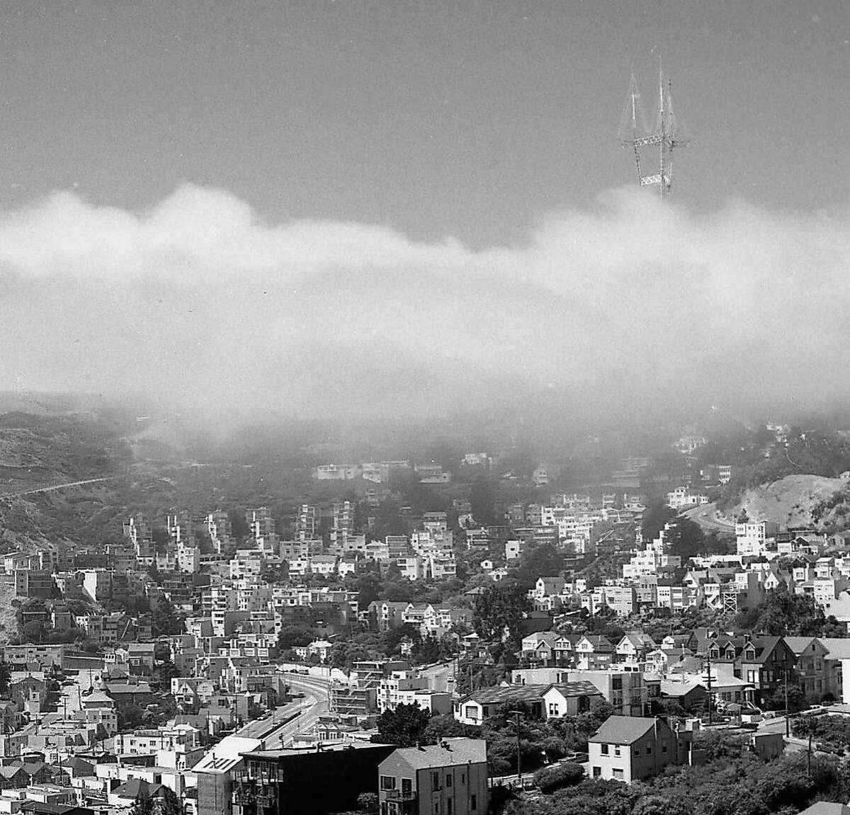 Fog morning in the city around June 28, 1973, looking from Twin Peaks