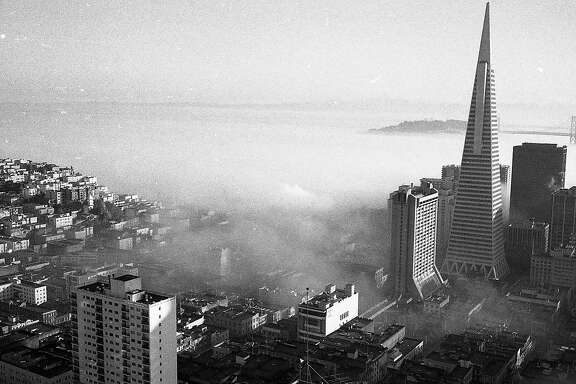 Fog morning in the city around February 13, 1974, including the Transamerica Pyramid and St. Peter & Paul Church