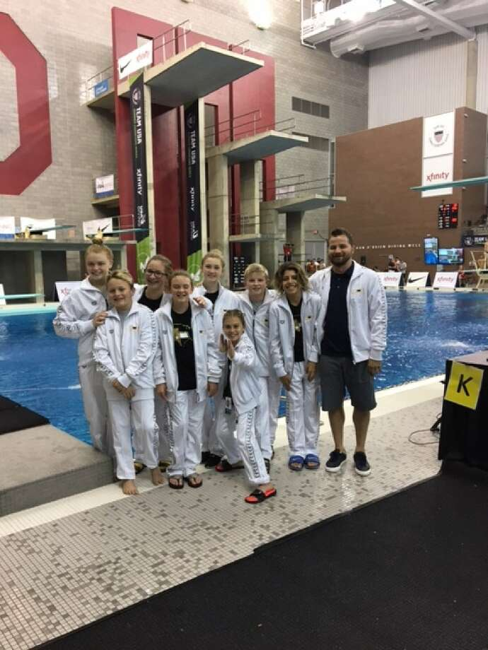 The City of Midland Diving team poses for a photo at the 2017 USA Diving Summer Junior Nationals held in Columbus, Ohio, over the weekend. Front Row left to right: Barrett Jacoby, Georgia Austin, Madison Haynie. Back Row left to right: Margaret Rogers, Averi McQuitty, Grace Austin, Quinton Klingensmith, Nicolas Stone, and coach Gabi Chereches. Not Pictured Chloe McKnight, Trever Cheun. Courtesy photo