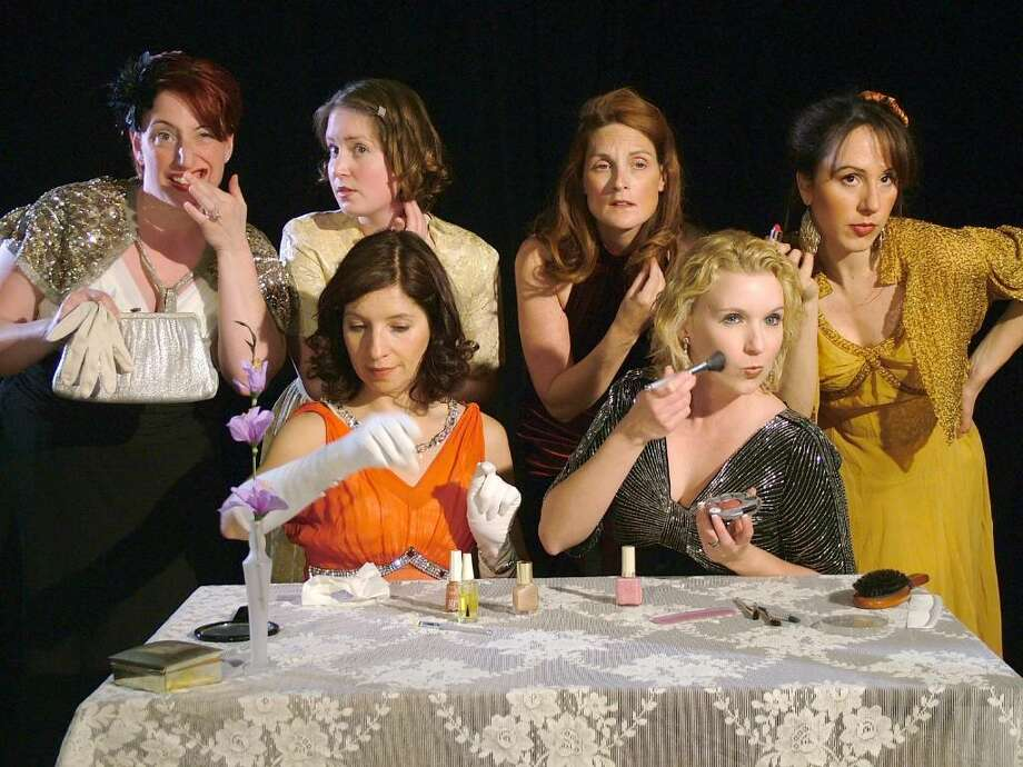 """The Women"" compete for the makeup mirror. Seated, from left: Kimberley Lowden, Marcia Maslo; Standing, from left:  Dainelle Testori-Gartner, Kristin Gagliardi, Leigh Katz, and Dana Dicerto. The Westport Community Theatre will show The Women Friday, June 18, and Saturday, June 19, at 8 p.m., and Sunday, June 20, at 2 p.m. Photo: Contributed Photo / Westport News"