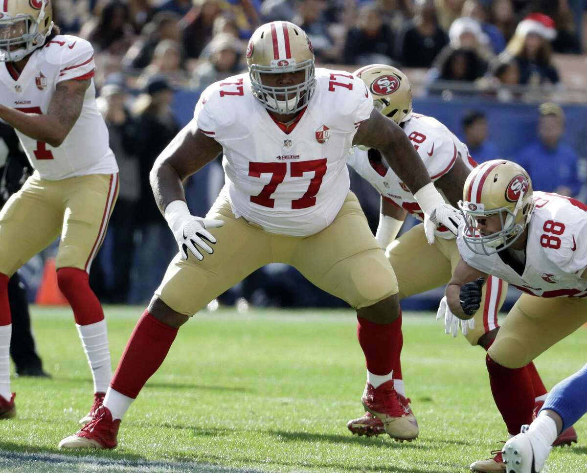 49ers tackle Trent Brown reported to mini-camp in April overweight again, but has since hit his target weight of 358 pounds.