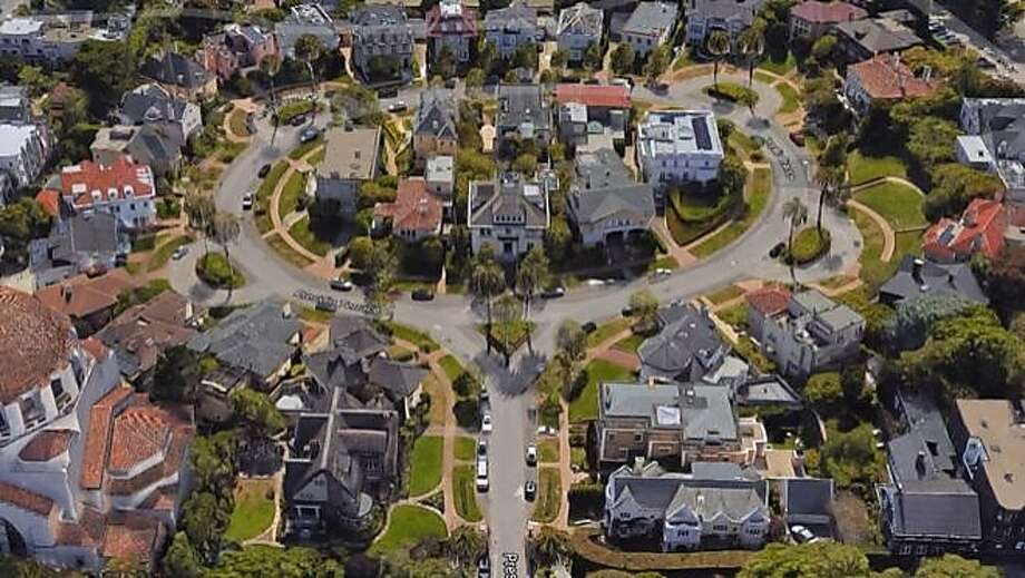 Overhead view of Presidio Terrace, the private street that was sold in a tax auction to a San Jose couple even as homeowners were in the dark. Photo: Matier & Ross, Courtesy Google