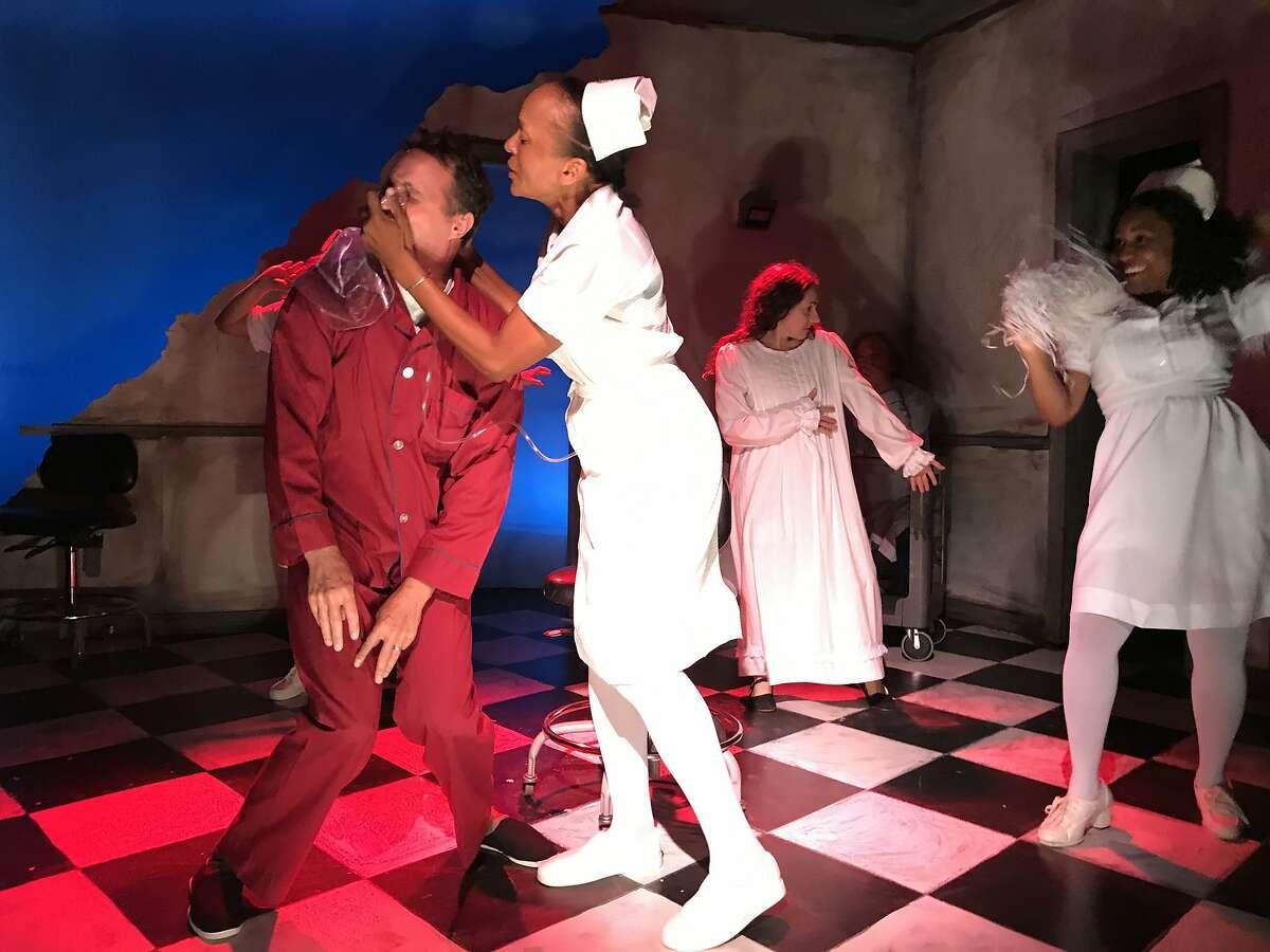 "From left: Matt Shelton, Benita Ward Jarrett, Daryl Harper and Natasha LaGrone in Shelton Theater's now closed production of ""The Last Days of Judas Iscariot."""