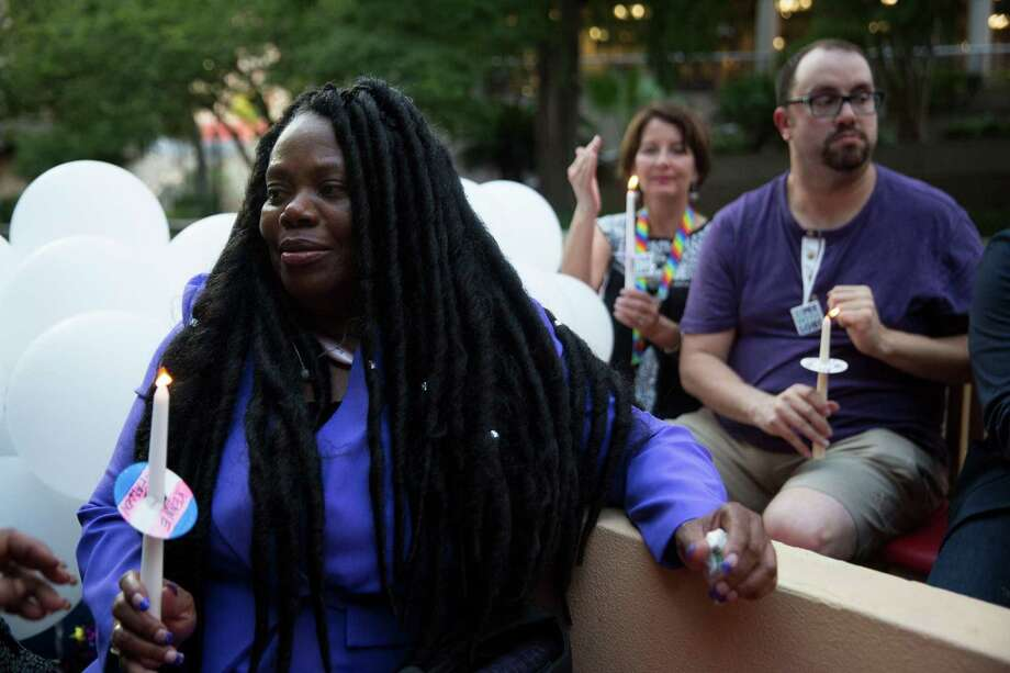 Joann McFadden sits on the boat before a vigil for her daughter Kenne McFadden, a trans woman who was found dead in the San Antonio river in April in San Antonio, Texas on August 8, 2017. This would have been her birthday. Photo: Carolyn Van Houten, Staff / San Antonio Express-News / 2017 San Antonio Express-News