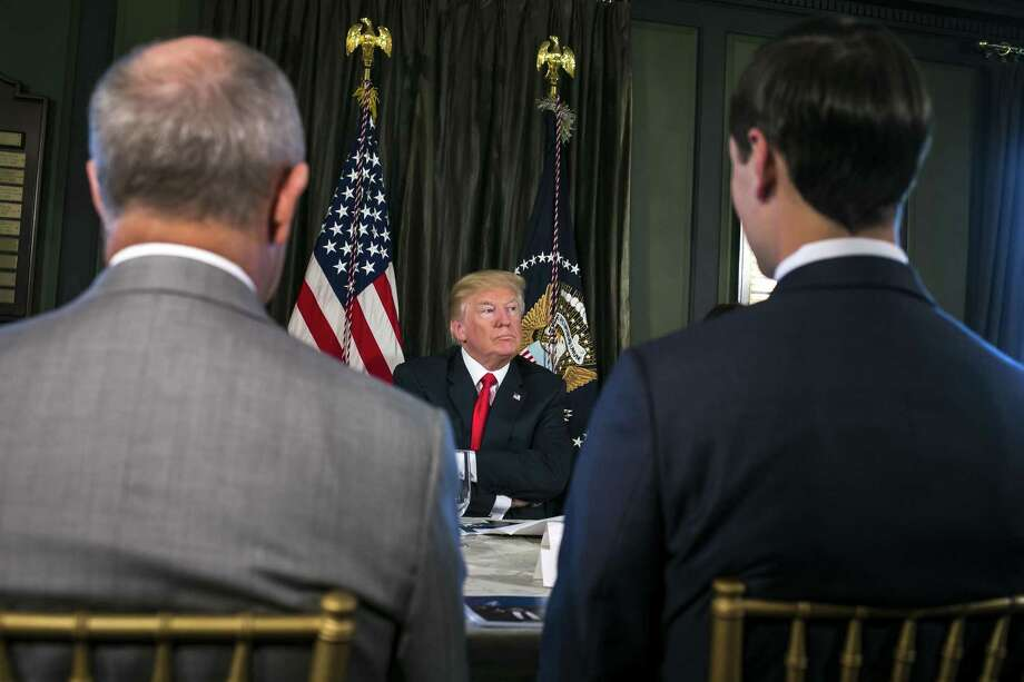 President Donald Trump speaks during a meeting regarding the opioid crisis at his Trump National Golf Club in Bedminster, N.J. Photo: Al Drago / New York Times / NYTNS