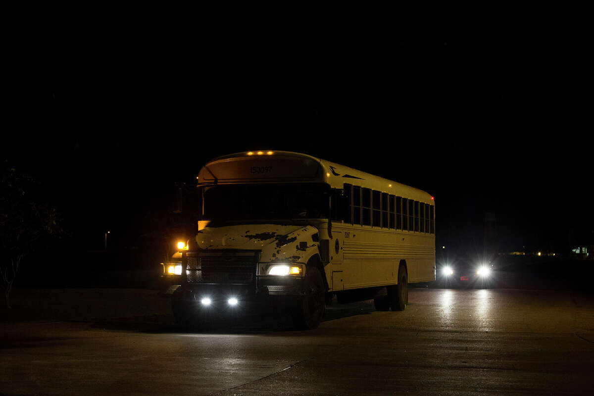 The first bus that is moving heat-sensitive inmates to other facilities leaves the Wallace Pack Unit at around 5 a.m. Wednesday, Aug. 9, 2017, in Navasota. The inmates will be sent to 11 other facilities. ( Yi-Chin Lee / Houston Chronicle )