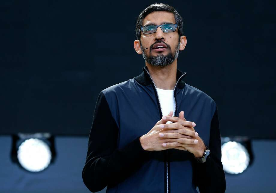 Google CEO Sundar Pichai opens the keynote address during the Google I/O conference at the Shoreline Amphitheatre in Mountain View, Calif. on Wednesday, May 17, 2017. Photo: Paul Chinn, The Chronicle