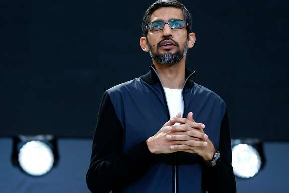 Google CEO Sundar Pichai opens the keynote address during the Google I/O conference at the Shoreline Amphitheatre in Mountain View, Calif. on Wednesday, May 17, 2017.