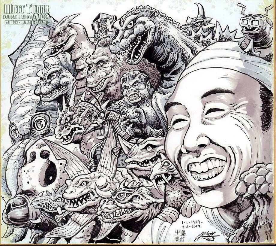 Haruo Nakajima tribute art by professional Godzilla artist and San Antonio native Matt Frank. Nakajima was the first to portray Godzilla in the 1954 film that launched the monster franchise. Photo: Courtesy Matt Frank