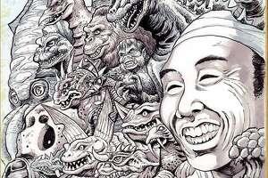 Haruo Nakajima tribute art by professional Godzilla artist and San Antonio native Matt Frank. Nakajima was the first to portray Godzilla in the 1954 film that launched the monster franchise.