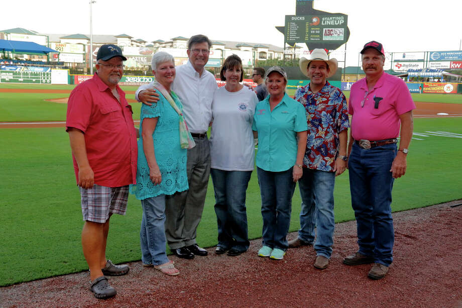 Attending Fort Bend County Fair night at the Skeeters Game in 2016 are, from left: Fort Bend County Fair Association Board of Directors Brian Graeber, Marjie Pollard, Mayor of Sugar Land, Joe Zimmerman, Vickie Todd Autrey, Board Member, Cindy Schmidt, Fair Manager, and Board Members Neil O. Yelderman and Bobby Poncik. Photo: Fort Bend County Fair Association / 2016_BigTexasDesigns.com