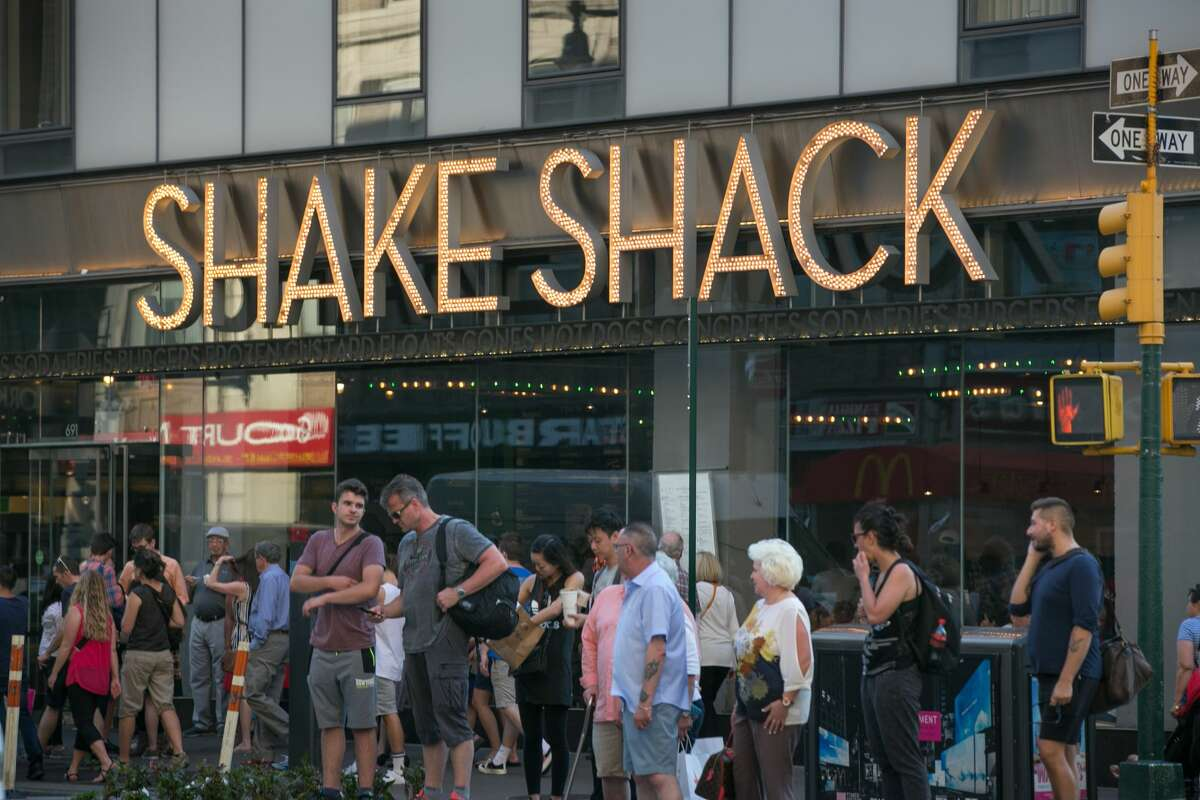 The Shake Shack on 8th Avenue near Times Square is viewed on June 10, 2017 in New York, New York. Shake Shack confirmed it is opening a new San Francisco location at Westfield Center.