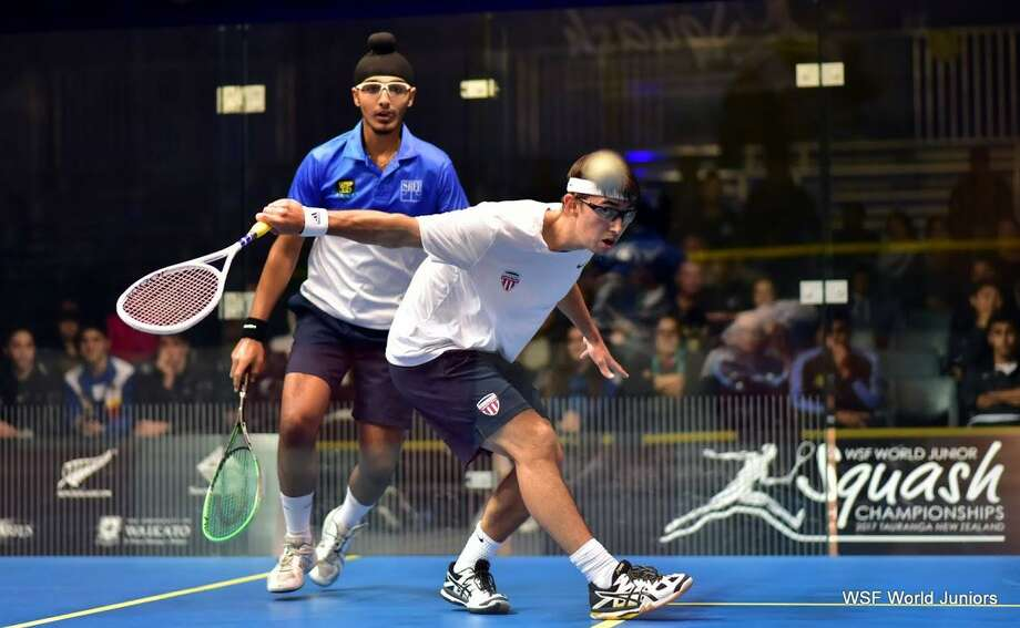 Darien High School graduate Harrison Gill competes in the World Junior Squash Championships in New Zealand. Gill placed in the Top-20 in the world, and is heading to Yale University in the Fall where he will play squash. Photo: Contributed Photo / Darien News contributed