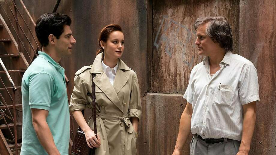 """Max Greenfield (left), Brie Larson and Woody Harrelson star in """"The Glass Castle,"""" about a dysfunctional family with an unpredictable dad who drinks and rules erratically. Photo: Jake Giles Netter, Lionsgate"""