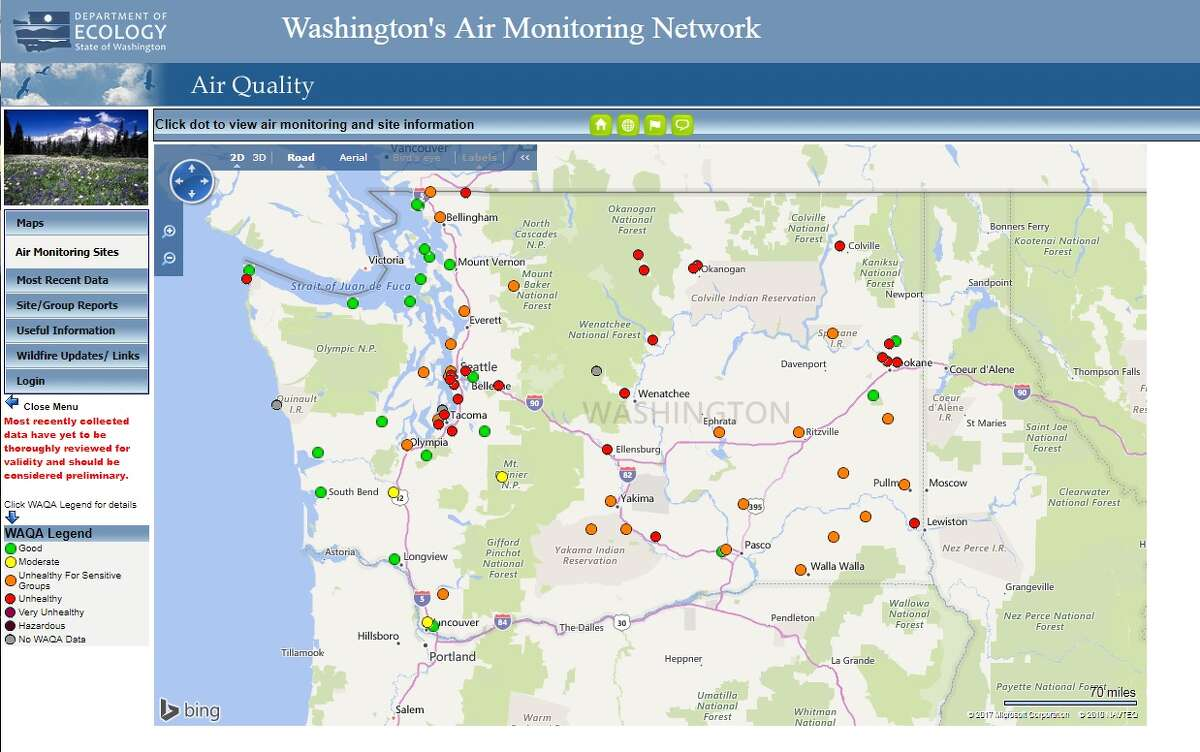 Washington's air quality monitoring stations, shown around 11:30 a.m. Wednesday. Air quality had gotten better over the past weekend before dipping again across much of the state.
