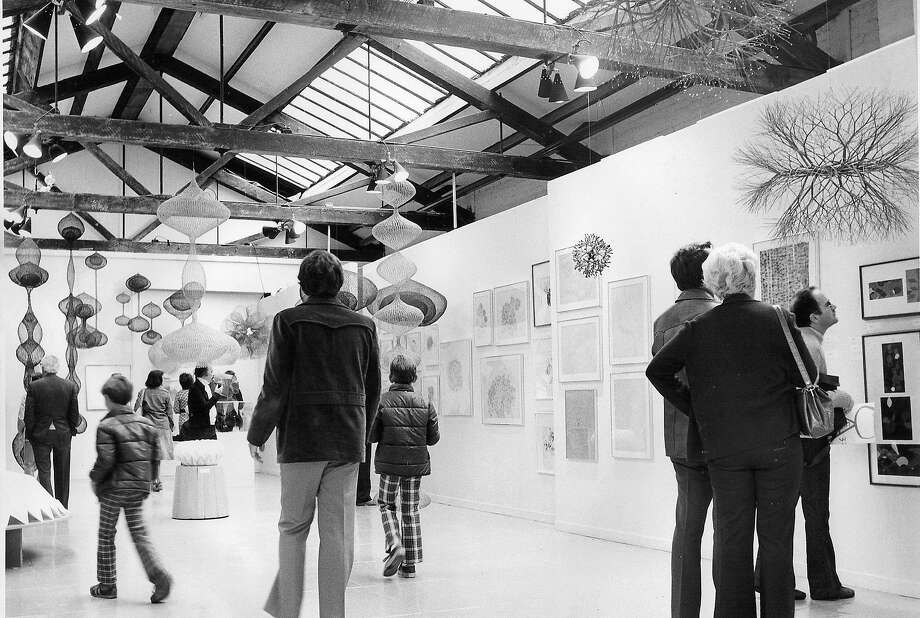 A Ruth Asawa exhibit is on view in 1976 at Capri corn Asunder, which became 155 Grove St. Photo: Courtesy San Francisco Arts Commission