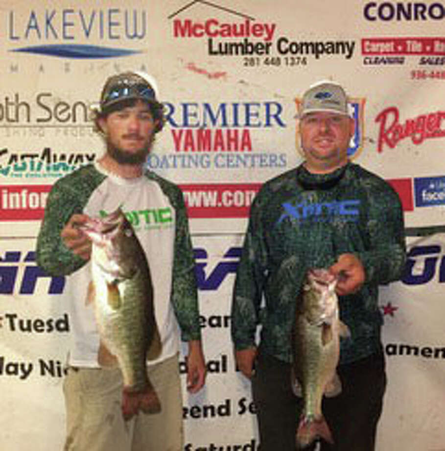 Russell Pasket and Raylon Zwenerman came in third place in the CONROEBASS Tuesday Night Tournament each with a stringer weight of 7.99pounds. Photo: Conroe Bass