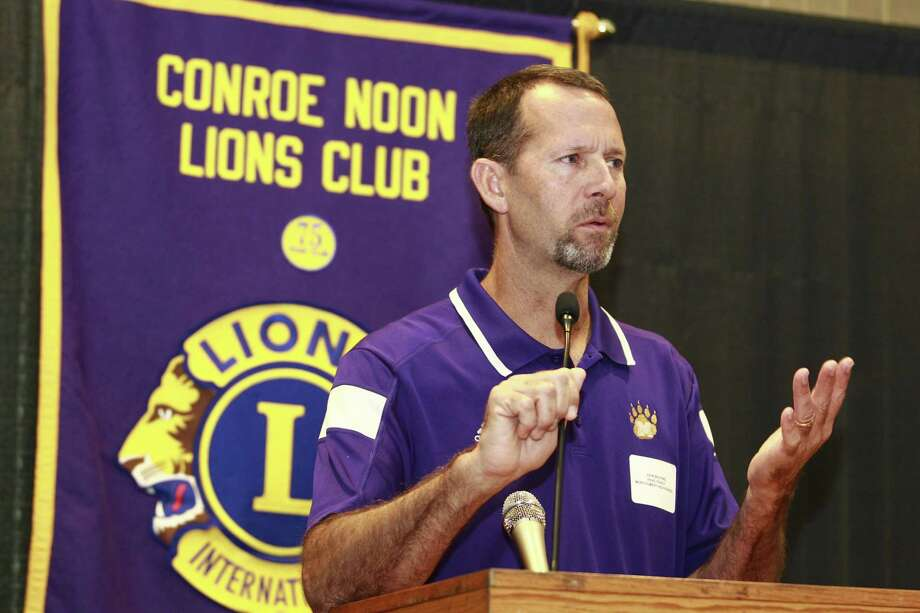 Montgomery head coach John Bolfing talks about the upcoming season during the Conroe Noon Lions Club's annual Pigskin Preview at the Lone Start Convention & Expo Center, Wednesday, Aug. 9, 2017, in Conroe. Photo: Jason Fochtman, Staff Photographer / Conroe Courier / HCN