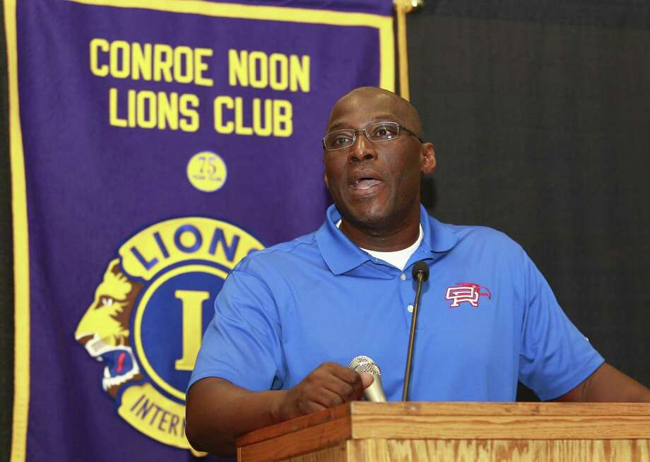 Oak Ridge head coach Dereck Rush talks about the upcoming season during the Conroe Noon Lions Club's annual Pigskin Preview at the Lone Start Convention & Expo Center, Wednesday, Aug. 9, 2017, in Conroe. Photo: Jason Fochtman, Staff Photographer / Conroe Courier / HCN