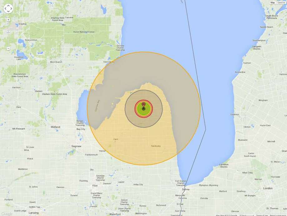 Simulation Shows What A Nuke Could Do To The Thumb Huron Daily Tribune - Us-nuke-map