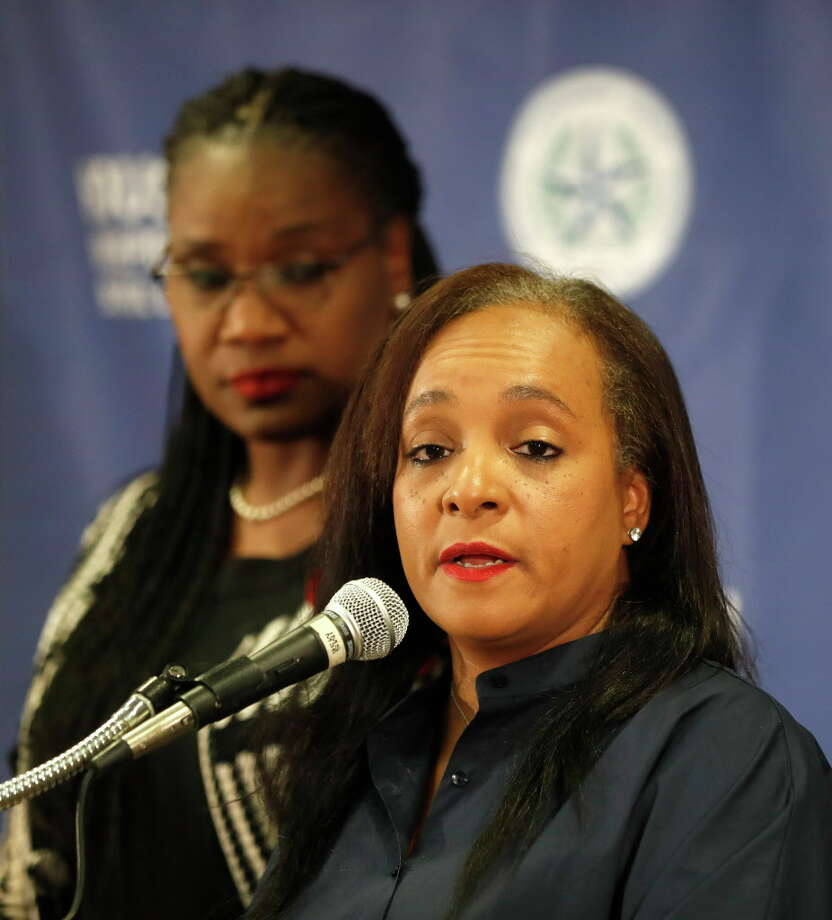 HISD trustee Rhonda Skillern-Jones speaks with board president Wanda Adams during a press conference at HISD, Wednesday, Aug. 9, 2017, in Houston, to talk about the state takeover due to chronically failing Houston schools.See the schools that are failing chronically, causing the possibility of a state takeover of the district... Photo: Karen Warren, Houston Chronicle / @ 2017 Houston Chronicle