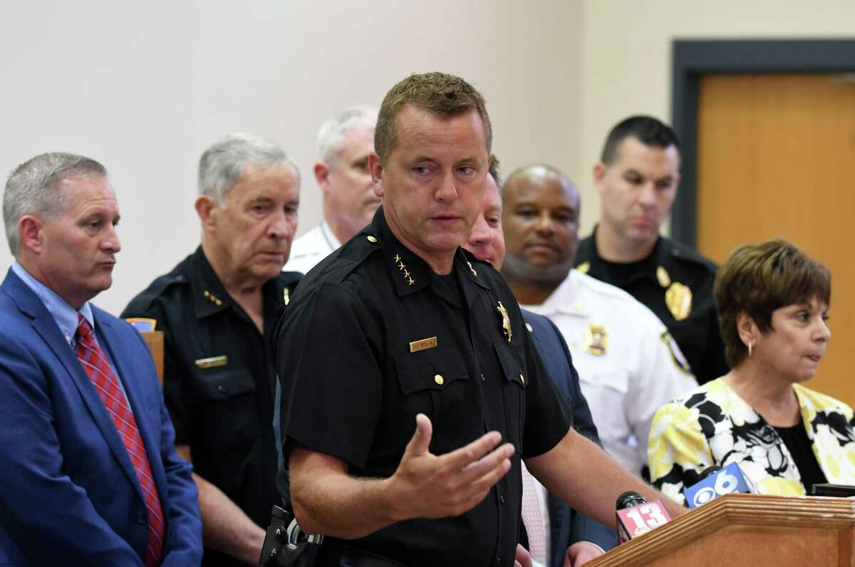 Albany County Sheriff Craig Apple speaks during a press conference to announce the purchase of police safety gear through a $249,000 grant on Wednesday, Aug. 9, 2017, in Colonie, N.Y. Kevlar helmets and heavy-duty protective vests were purchased with grant money received from Albany County through the New York State Division of Criminal Justice Services. (Will Waldron/Times Union)