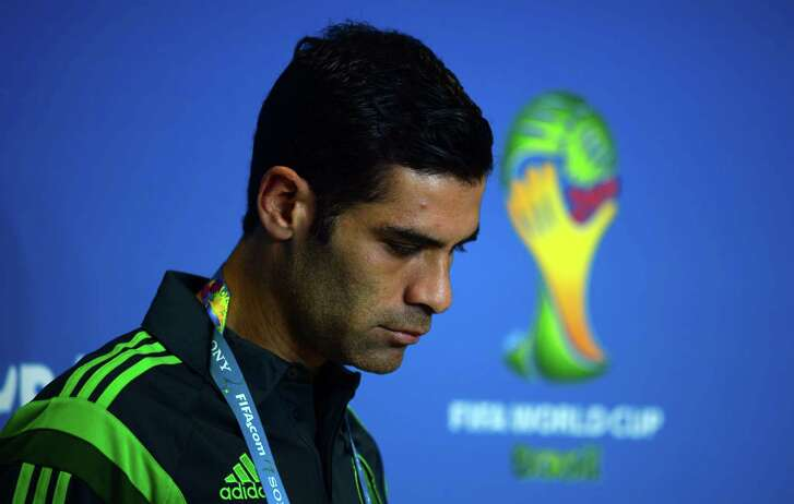 """(FILES) This file photo taken on June 12, 2014 shows Mexico's defender Rafael Marquez arriving for a press conference at the Las Dunas stadium in Natal, Brazil, prior to the 2014 FIFA Football World Cup.   The US Treasury on August 9, 2017 accused Rafael Marquez, captain of Mexico's national football team and a former FC Barcelona player, of being a """"front person"""" for a major drug trafficking organization. Marquez was one of 22 people and 43 entities the US Treasury placed on a sanctions list in relation to a Guadalajara-based drug trafficking cartel controlled by one Raul Flores Hernandez.  / AFP PHOTO / YURI CORTEZYURI CORTEZ/AFP/Getty Images"""