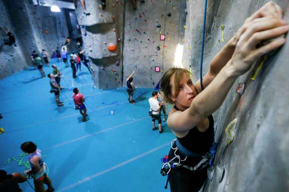 Houston Chronicle reporter Ryan Handy climbs at Texas Rock Gym Thursday, Aug. 3, 2017 in Houston.