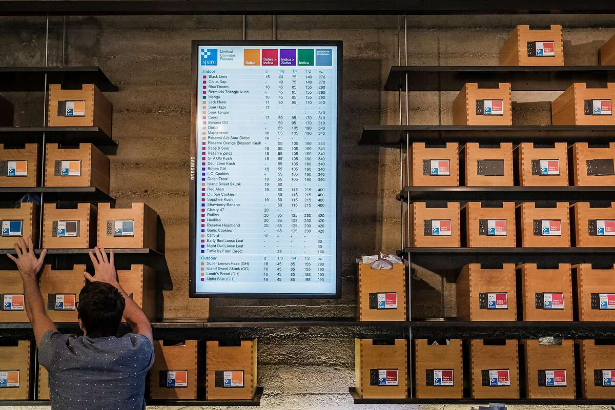 August 2, 2017 - Employees reach for specific strains of marijuana inside the Sparc cannabis dispensary on Mission Street. (Nick Otto Special to the Chronicle)