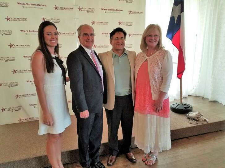 "Dr. Angel Munoz (third from left) is the ""In the Pink of Health"" luncheon honoree. He is pictured with (from left) Brooke Baugh, luncheon consultant; Tim Baker, foundation president; and Nancy Shortsleeve, luncheon co-chair."