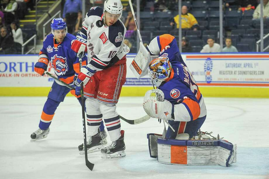 The Bridgeport Sound Tigers and the Hartford Wolf Pack play a regular season game at Webster Bank Arena on April 9. Photo: Gregory Vasil / For Hearst Connecticut Media / Connecticut Post Freelance