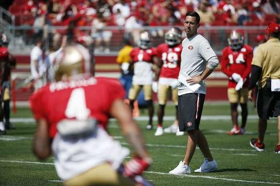 San Francisco 49ers head coach Kyle Shanahan during football practice at Levi's Stadium on Saturday, Aug. 5, 2017, in Santa Clara, Calif.