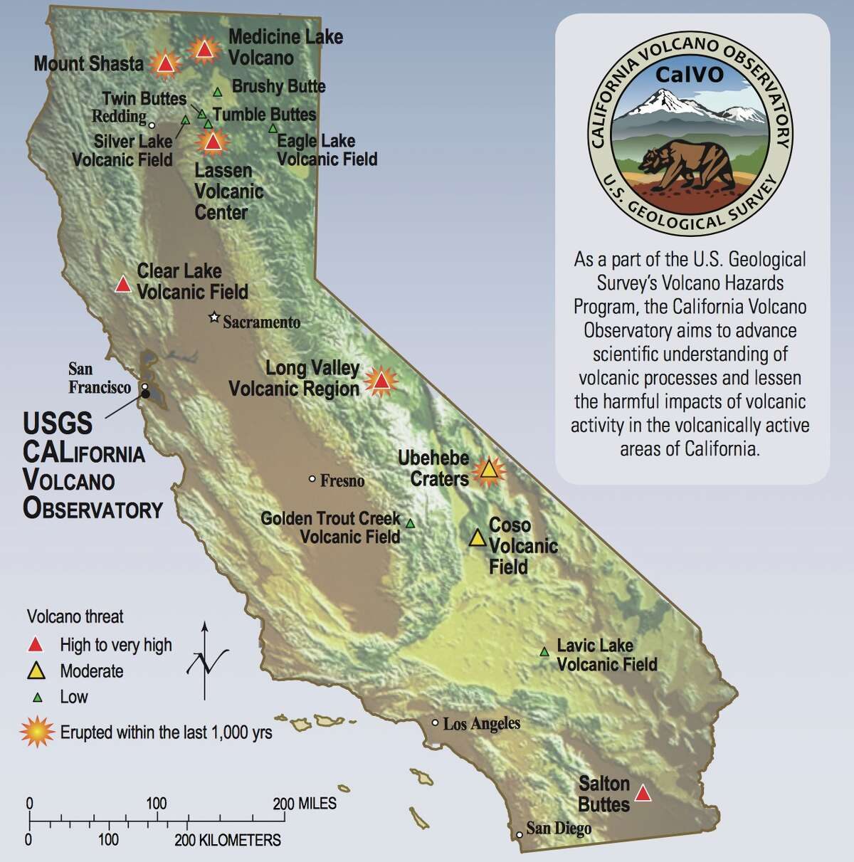 USGS caption: Volcanoes of very high to low threat are scattered throughout California, from the Oregon border (north) to Mexico (south). Other older volcanoes in California are of less concern. California's volcano watch list is subject to change as new data on past eruptive activity are collected, as volcanic unrest changes, and as populations in threatened areas grow or decline.
