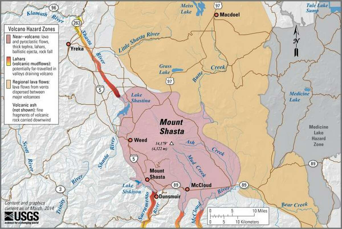 Mount Shasta, California simplified hazards map showing potential impact area for ground-based hazards during a volcanic event.