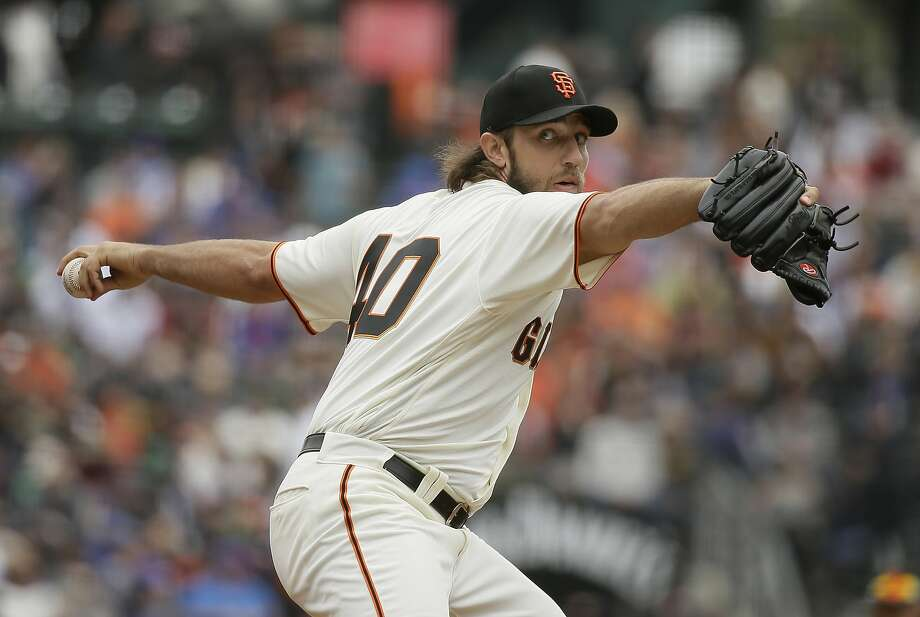 San Francisco Giants starting pitcher Madison Bumgarner works in the second inning of a baseball game against the Chicago Cubs, Wednesday, Aug. 9, 2017, in San Francisco. (AP Photo/Eric Risberg) Photo: Eric Risberg, Associated Press