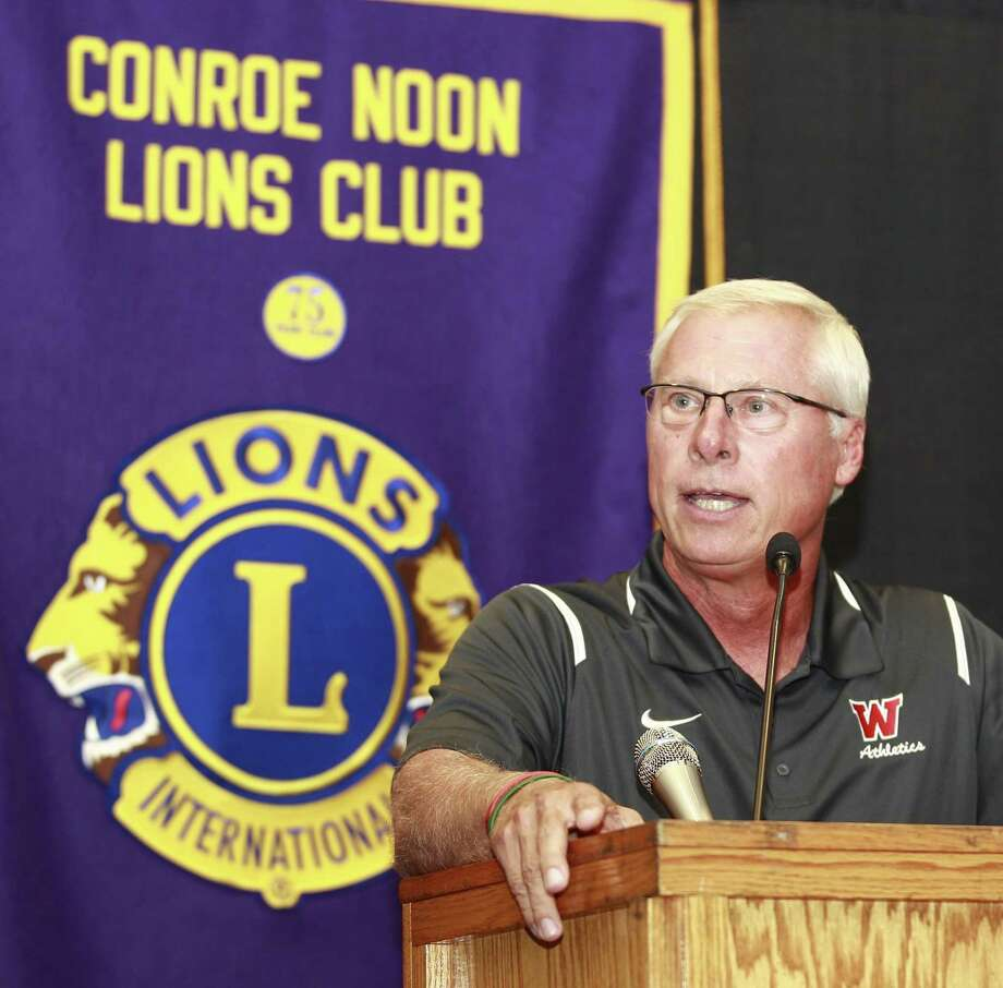 The Woodlands head coach Mark Schmid talks about the upcoming season during the Conroe Noon Lions Club's annual Pigskin Preview at the Lone Start Convention & Expo Center, Wednesday, Aug. 9, 2017, in Conroe. Photo: Jason Fochtman, Staff Photographer / Conroe Courier / HCN
