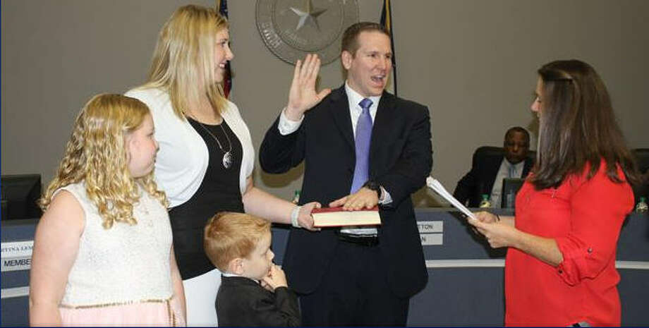 Colin Carney sworn in as position 6 school board member at the August 8 school board meeting. Photo: Courtesy Photo
