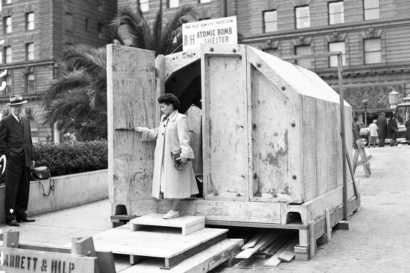 April 2, 1951: An atomic bomb shelter is on display in Union Square in San Francisco.